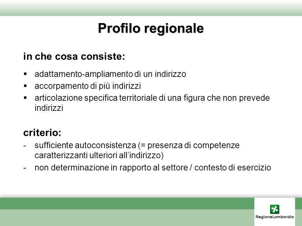 Profilo regionale in che cosa consiste: criterio:
