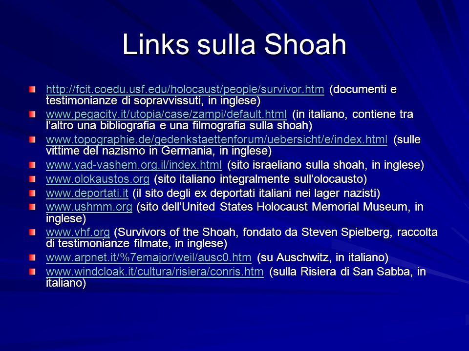 Links sulla Shoah http://fcit.coedu.usf.edu/holocaust/people/survivor.htm (documenti e testimonianze di sopravvissuti, in inglese)