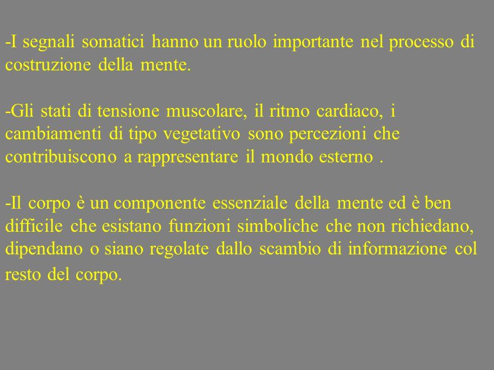 -I segnali somatici hanno un ruolo importante nel processo di costruzione della mente.