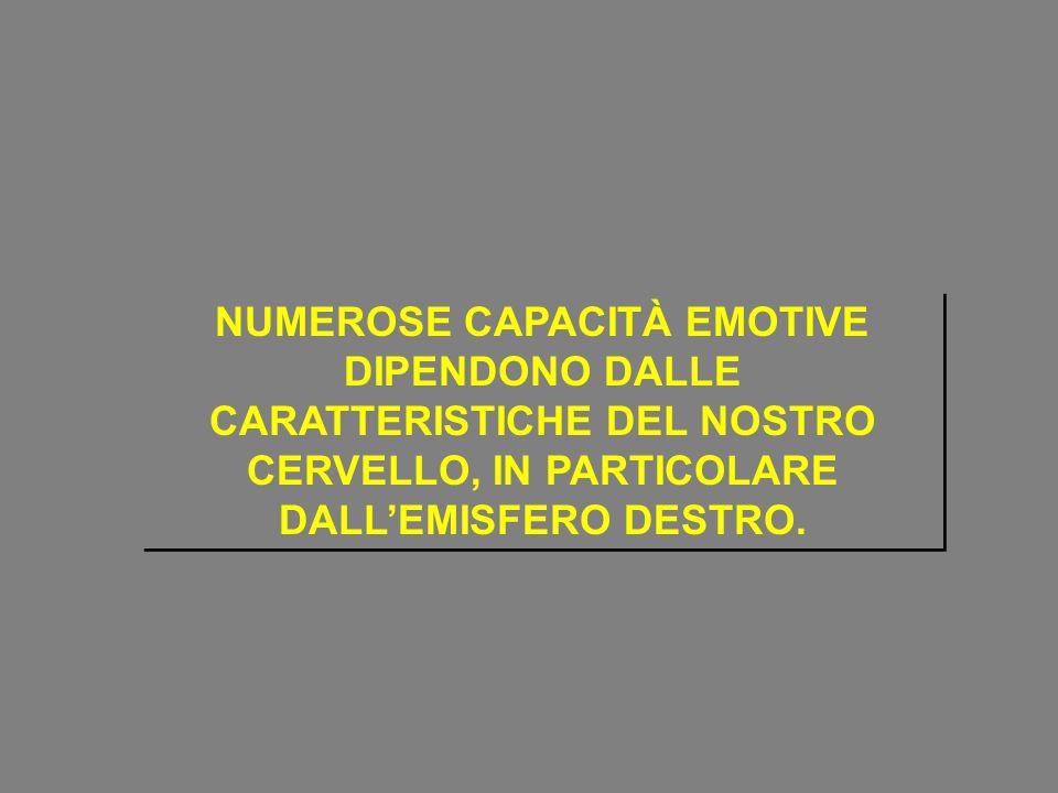 NUMEROSE CAPACITÀ EMOTIVE DIPENDONO DALLE CARATTERISTICHE DEL NOSTRO CERVELLO, IN PARTICOLARE DALL'EMISFERO DESTRO.