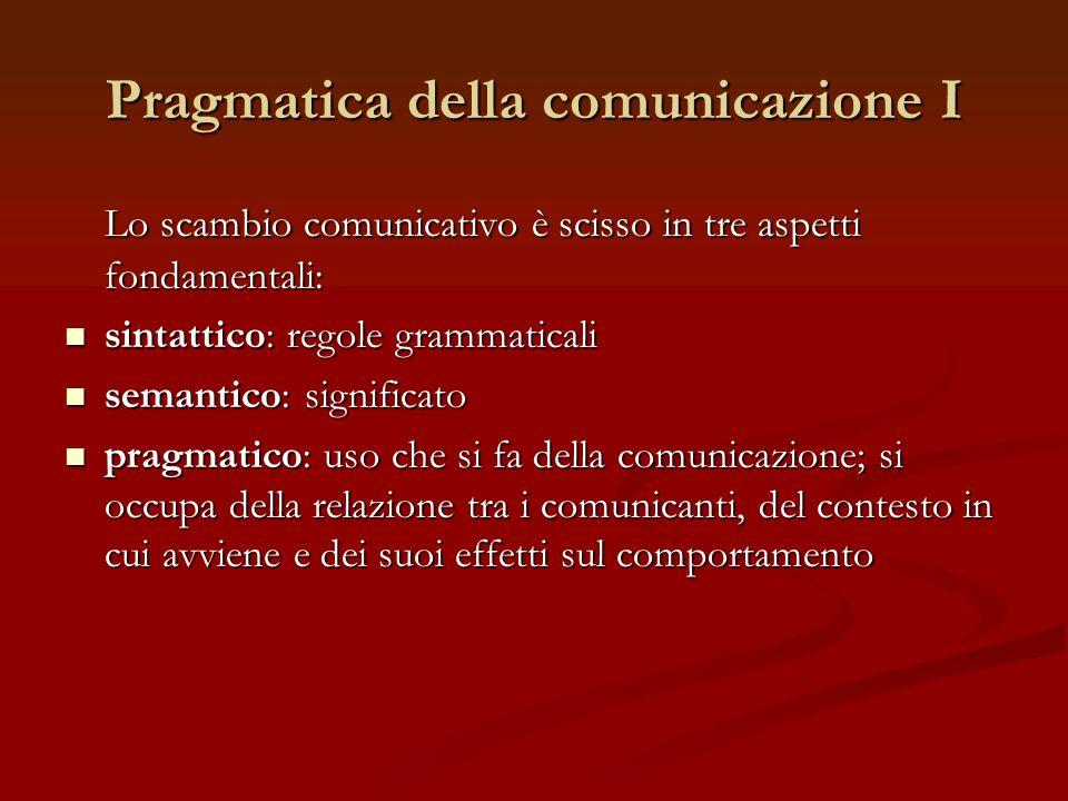 Pragmatica della comunicazione I