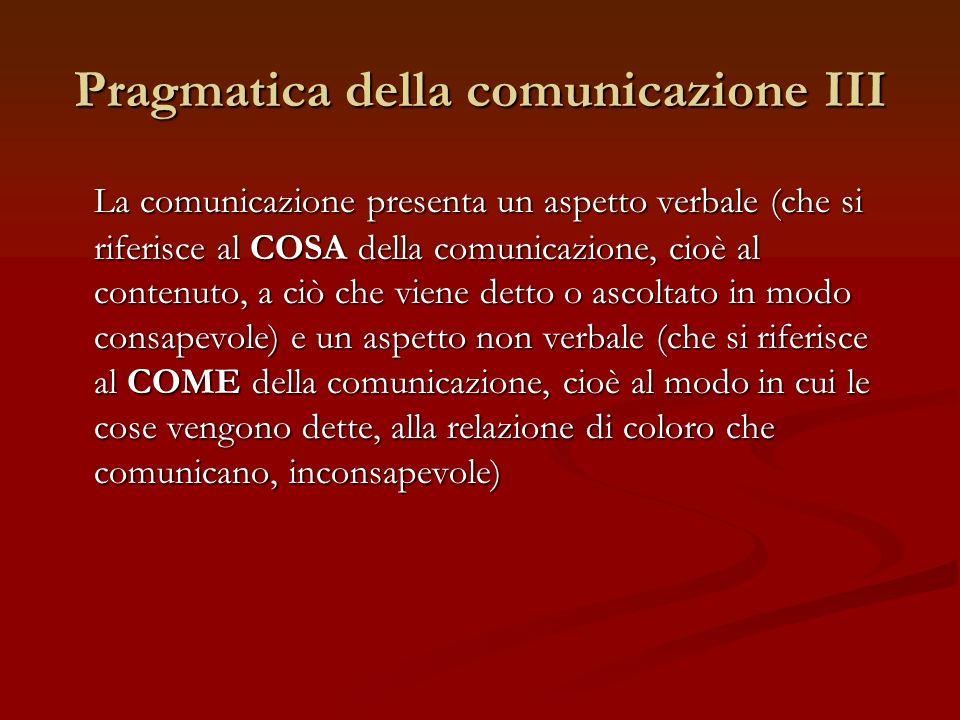 Pragmatica della comunicazione III