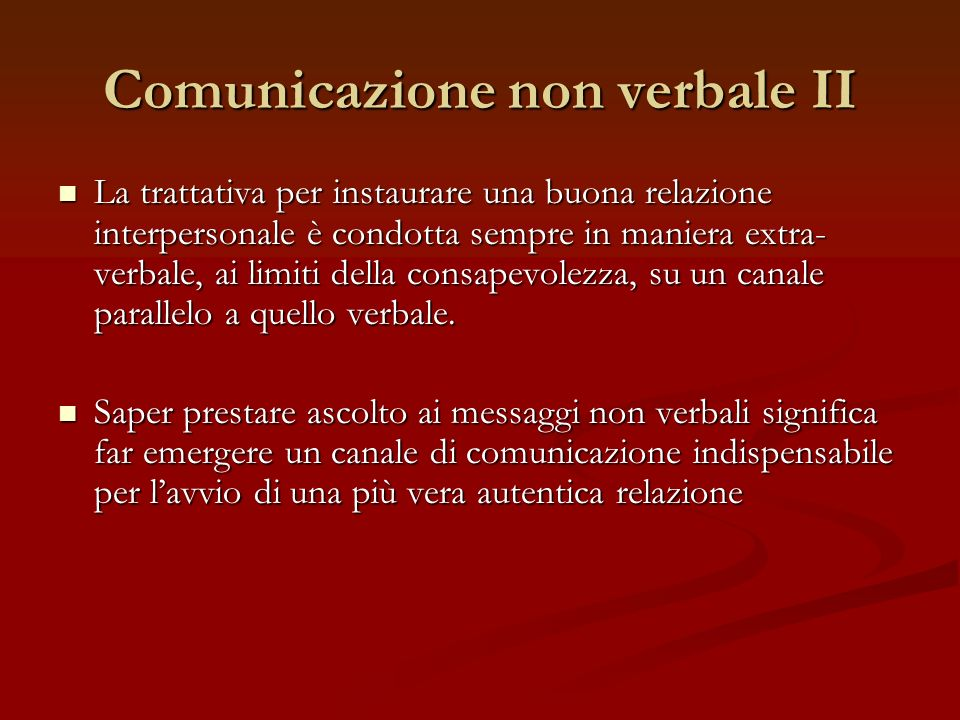 Comunicazione non verbale II