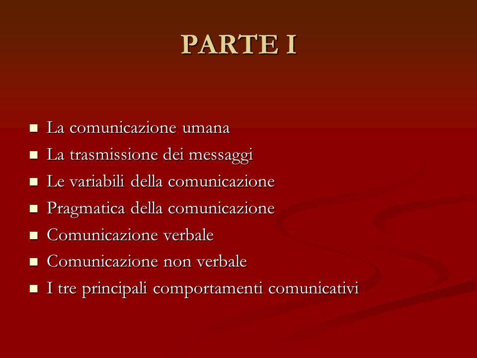PARTE I La comunicazione umana La trasmissione dei messaggi