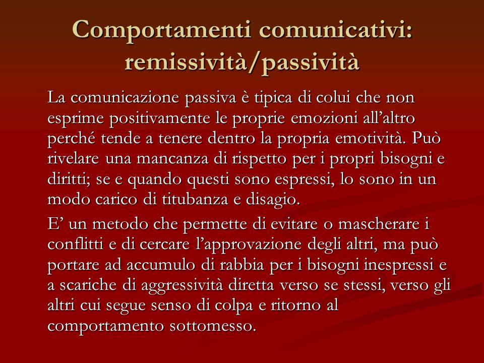 Comportamenti comunicativi: remissività/passività