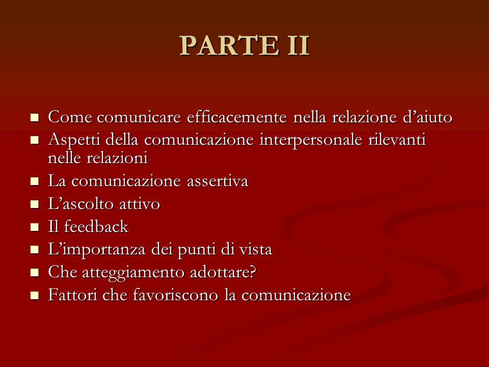 PARTE II Come comunicare efficacemente nella relazione d'aiuto