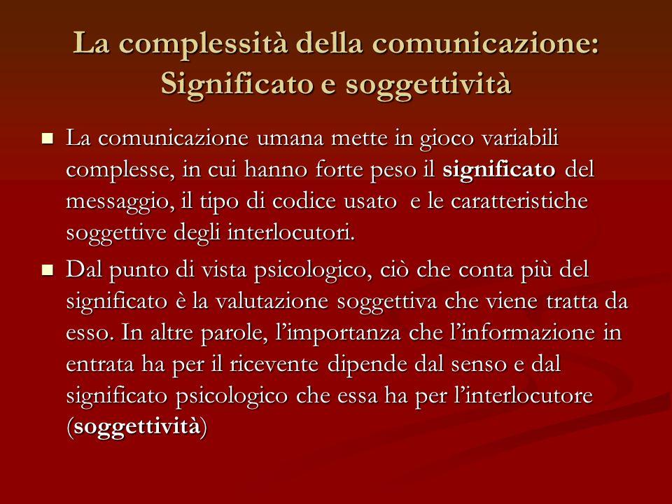 La complessità della comunicazione: Significato e soggettività