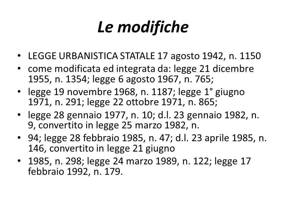 Le modifiche LEGGE URBANISTICA STATALE 17 agosto 1942, n. 1150