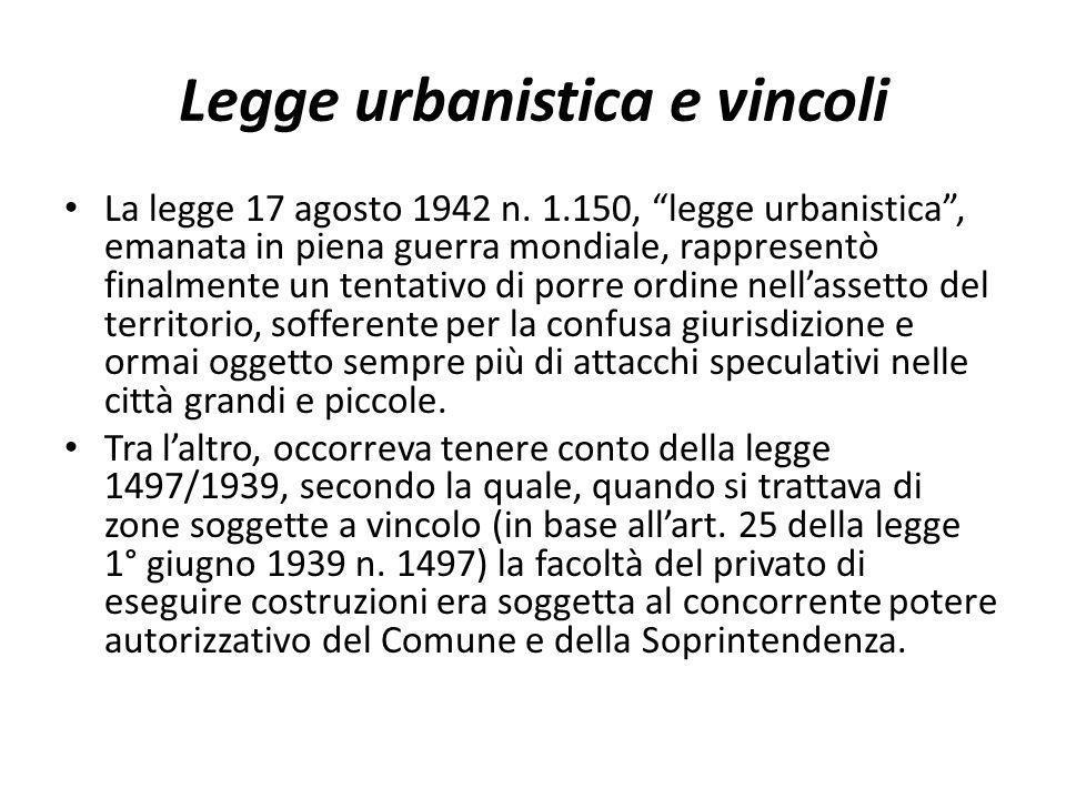 Legge urbanistica e vincoli