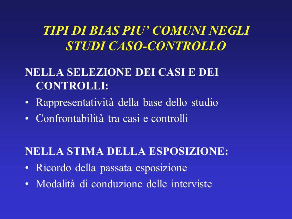 TIPI DI BIAS PIU' COMUNI NEGLI STUDI CASO-CONTROLLO