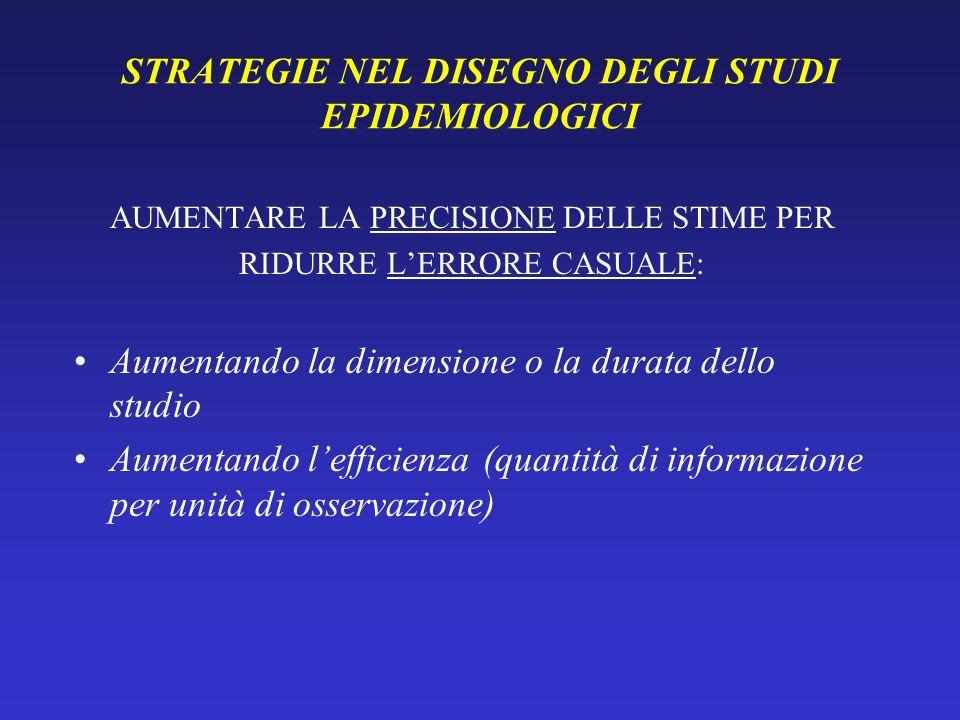 STRATEGIE NEL DISEGNO DEGLI STUDI EPIDEMIOLOGICI