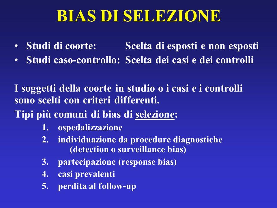 BIAS DI SELEZIONE Studi di coorte: Scelta di esposti e non esposti