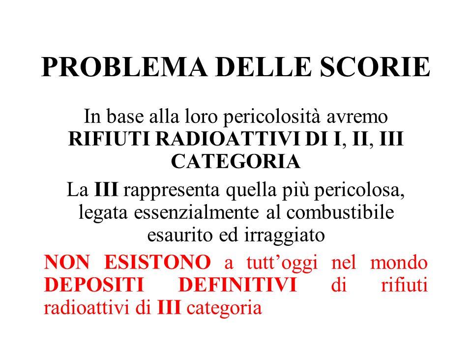 PROBLEMA DELLE SCORIE In base alla loro pericolosità avremo RIFIUTI RADIOATTIVI DI I, II, III CATEGORIA.
