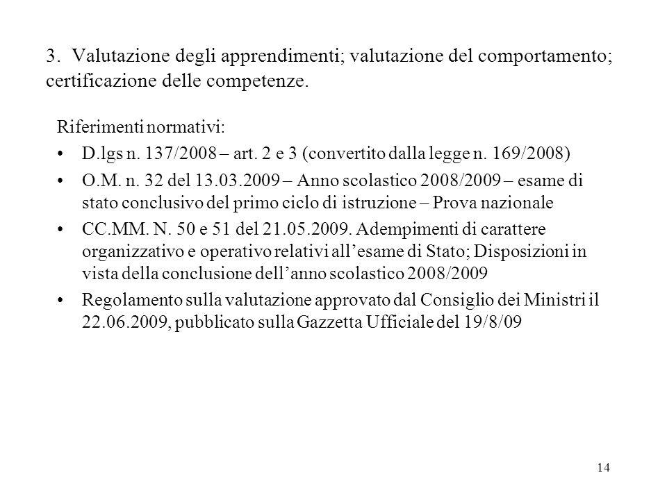 3. Valutazione degli apprendimenti; valutazione del comportamento; certificazione delle competenze.