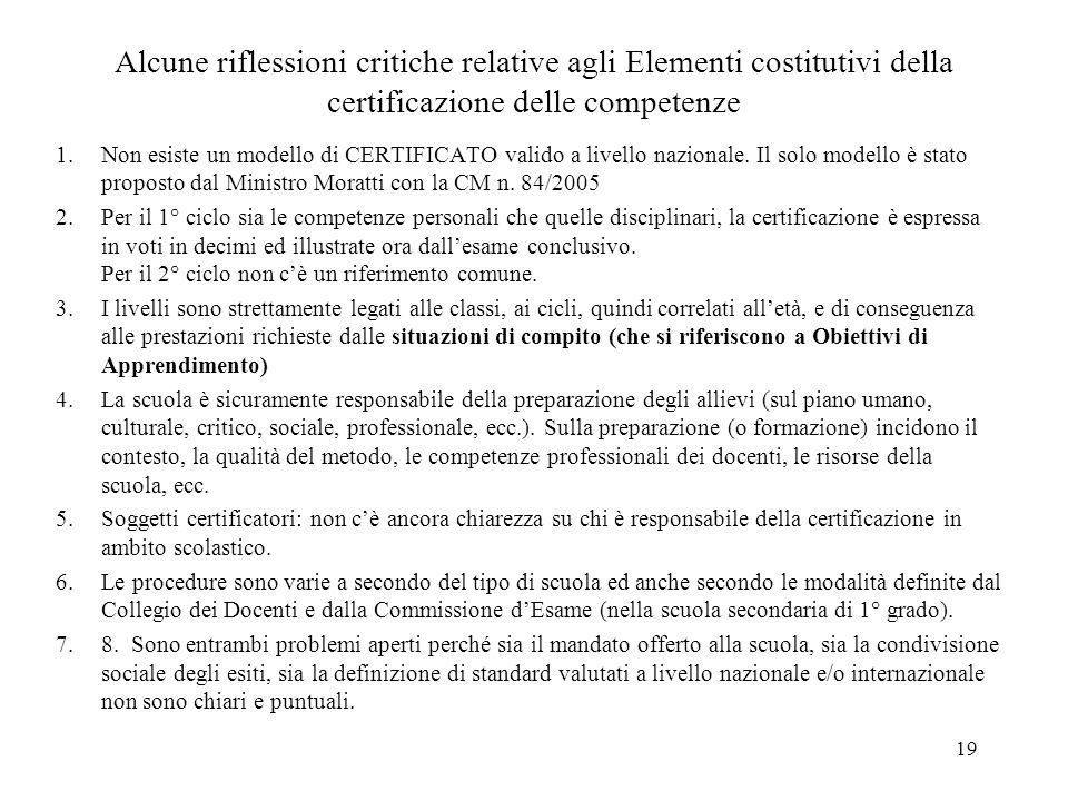 Alcune riflessioni critiche relative agli Elementi costitutivi della certificazione delle competenze