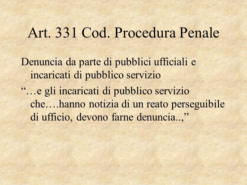 Art. 331 Cod. Procedura Penale