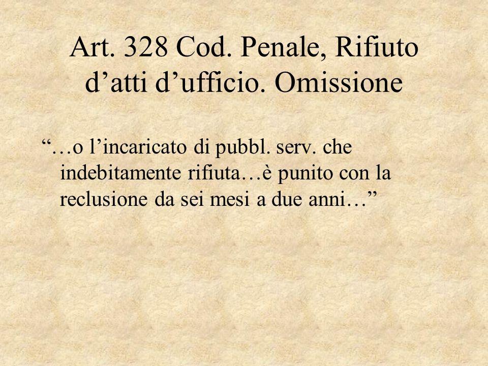 Art. 328 Cod. Penale, Rifiuto d'atti d'ufficio. Omissione