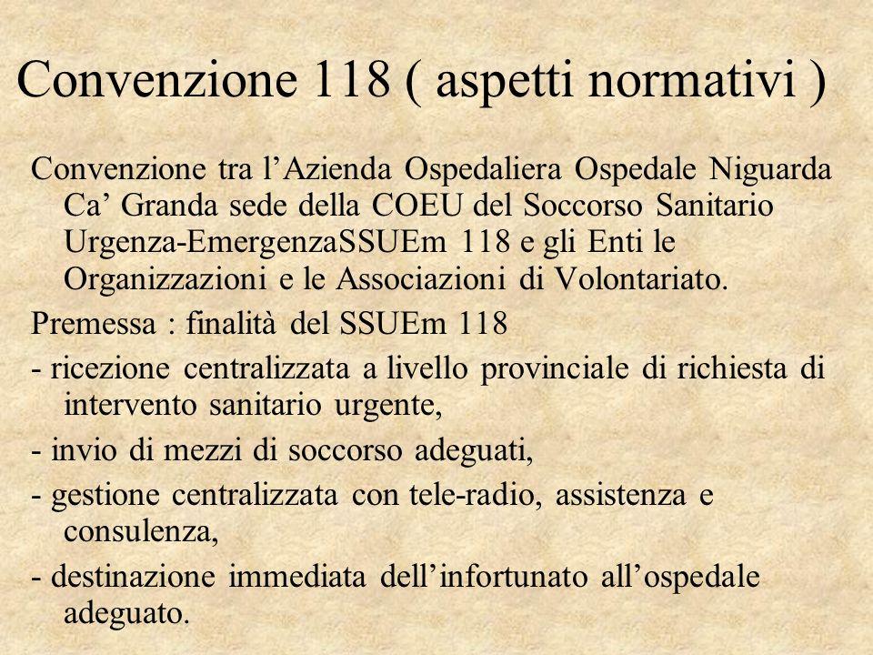 Convenzione 118 ( aspetti normativi )