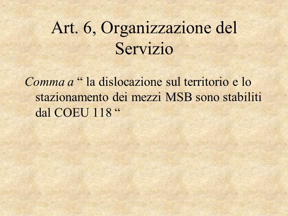 Art. 6, Organizzazione del Servizio