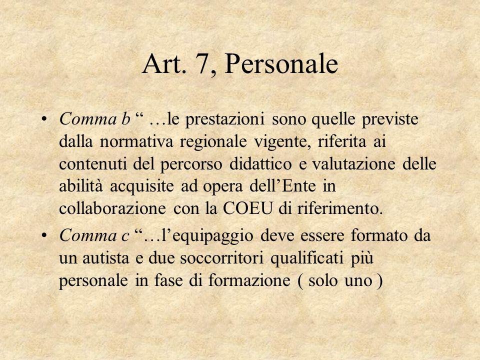 Art. 7, Personale