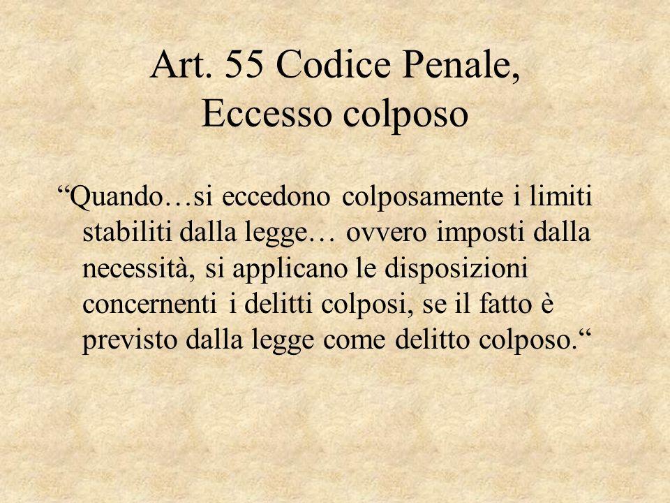 Art. 55 Codice Penale, Eccesso colposo
