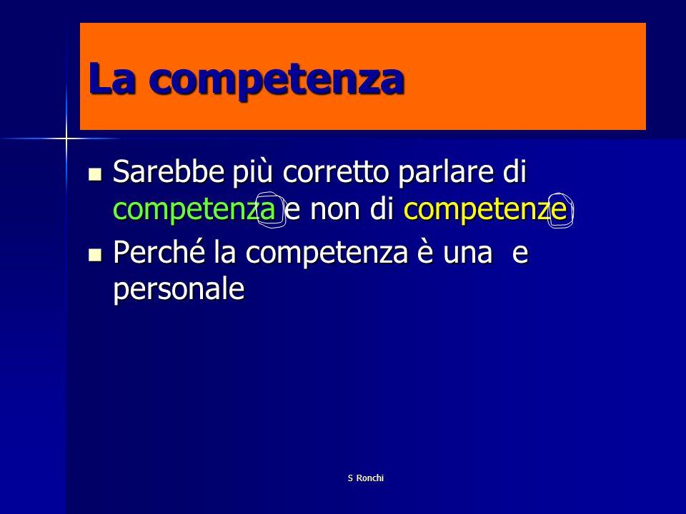 La competenza Sarebbe più corretto parlare di competenza e non di competenze. Perché la competenza è una e personale.