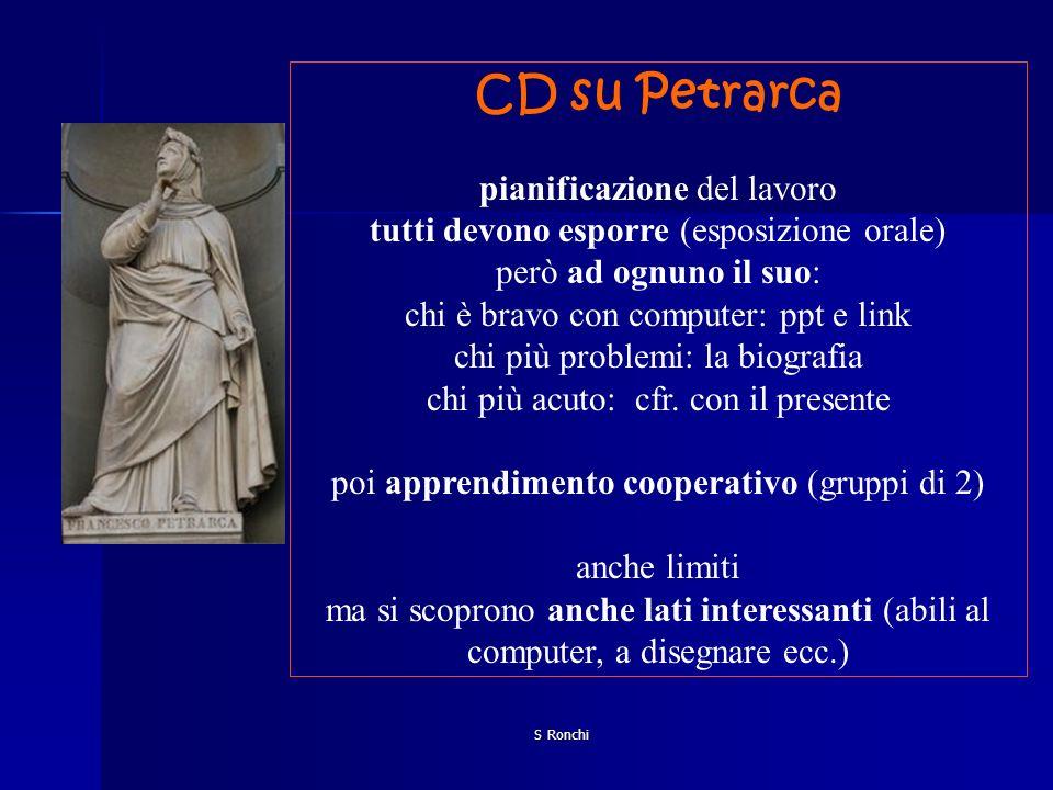 CD su Petrarca pianificazione del lavoro
