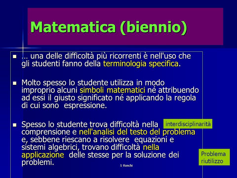 Matematica (biennio) … una delle difficoltà più ricorrenti è nell uso che gli studenti fanno della terminologia specifica.