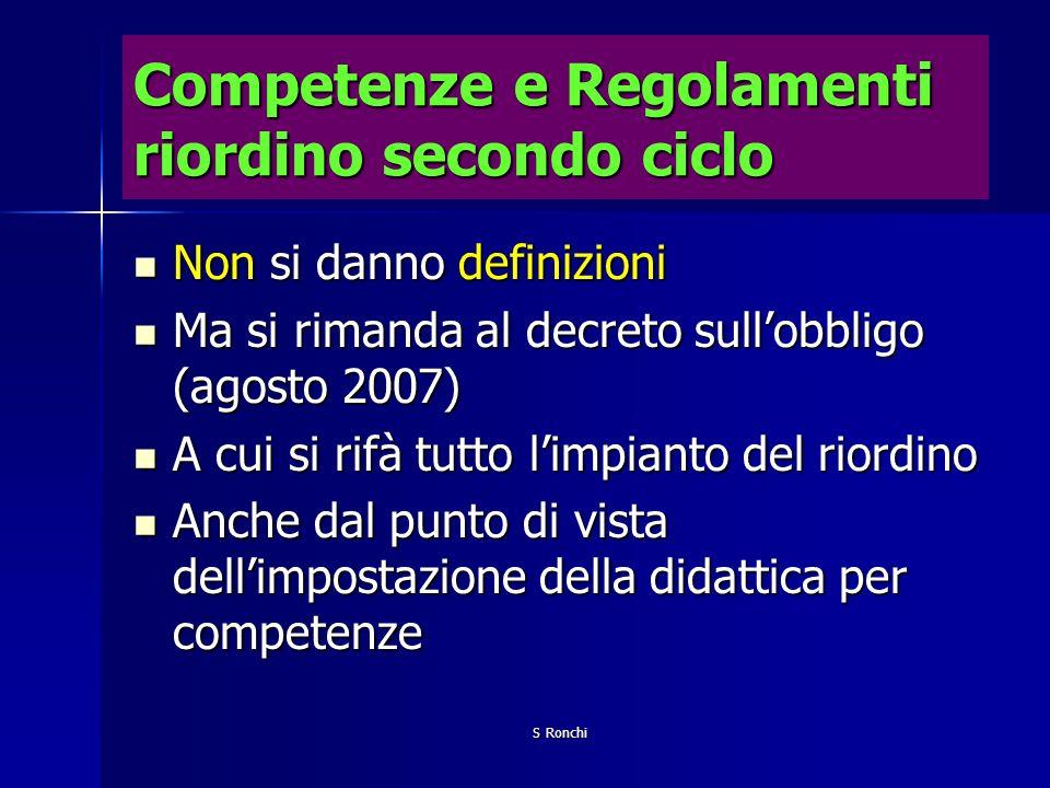Competenze e Regolamenti riordino secondo ciclo