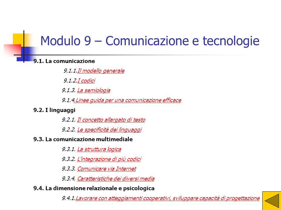 Modulo 9 – Comunicazione e tecnologie
