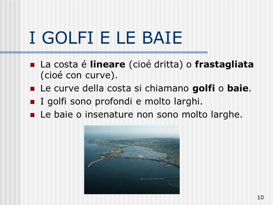 I GOLFI E LE BAIE La costa é lineare (cioé dritta) o frastagliata (cioé con curve). Le curve della costa si chiamano golfi o baie.