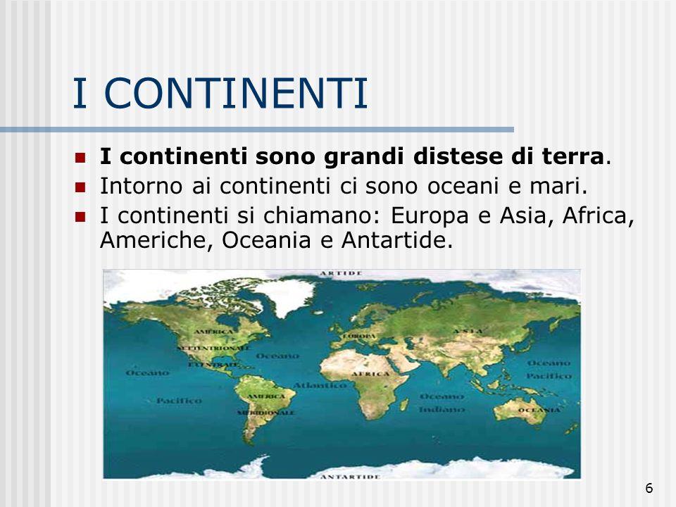 I CONTINENTI I continenti sono grandi distese di terra.