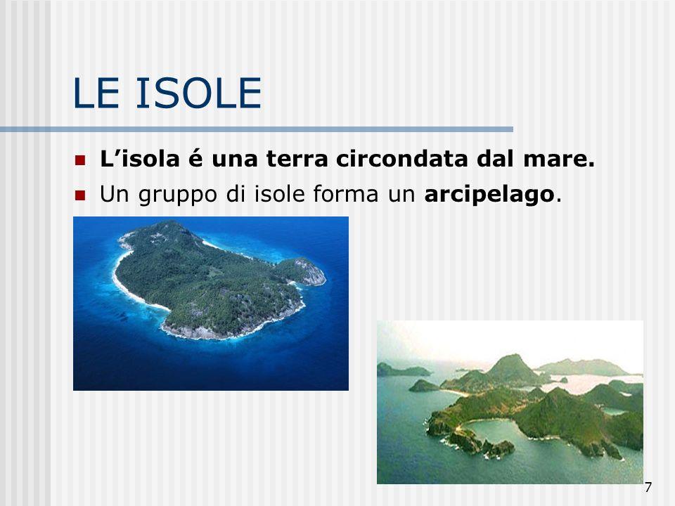 LE ISOLE L'isola é una terra circondata dal mare.