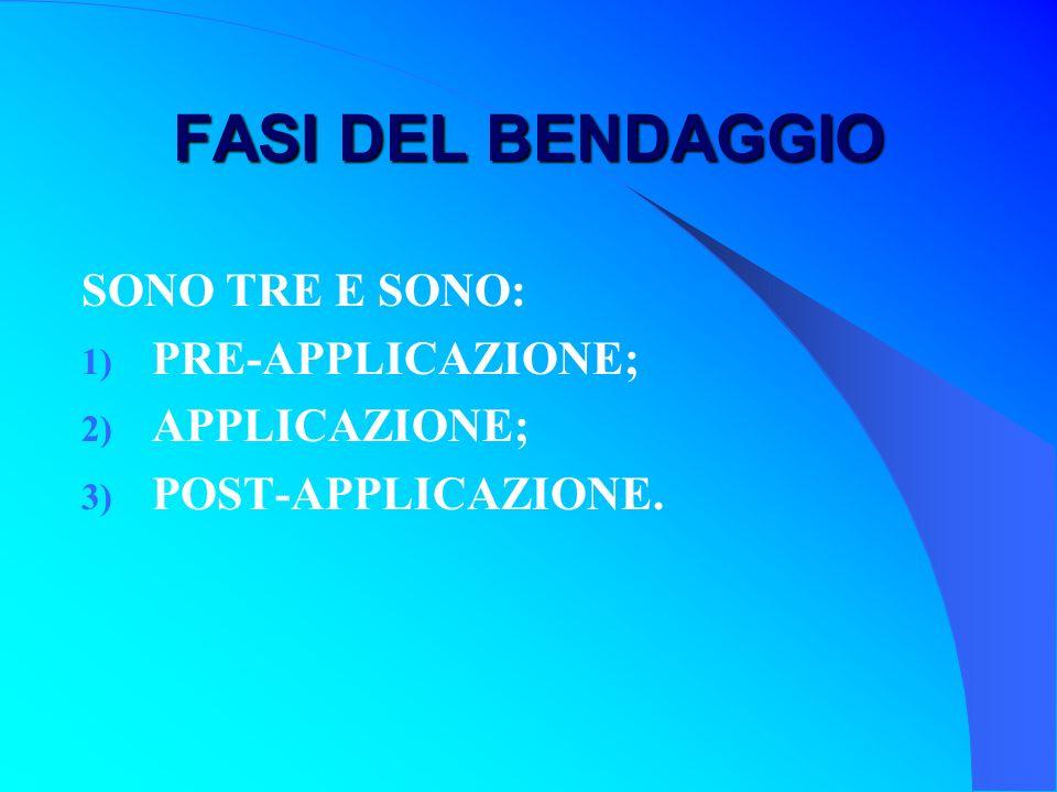 FASI DEL BENDAGGIO SONO TRE E SONO: PRE-APPLICAZIONE; APPLICAZIONE;