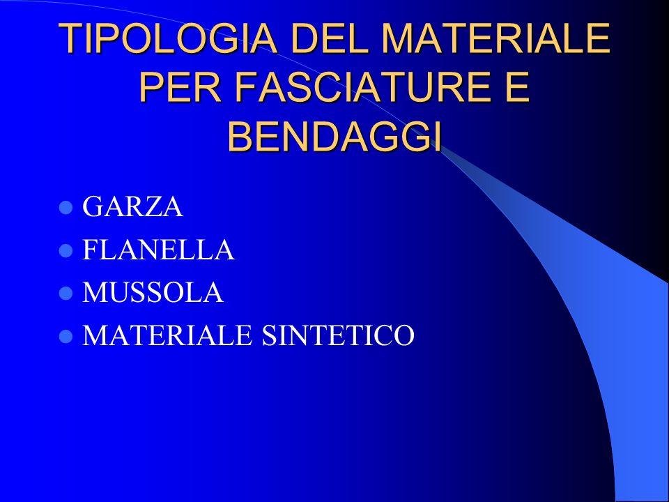 TIPOLOGIA DEL MATERIALE PER FASCIATURE E BENDAGGI
