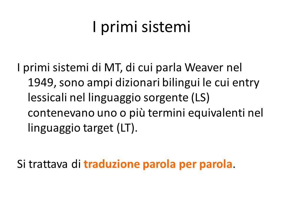 I primi sistemi