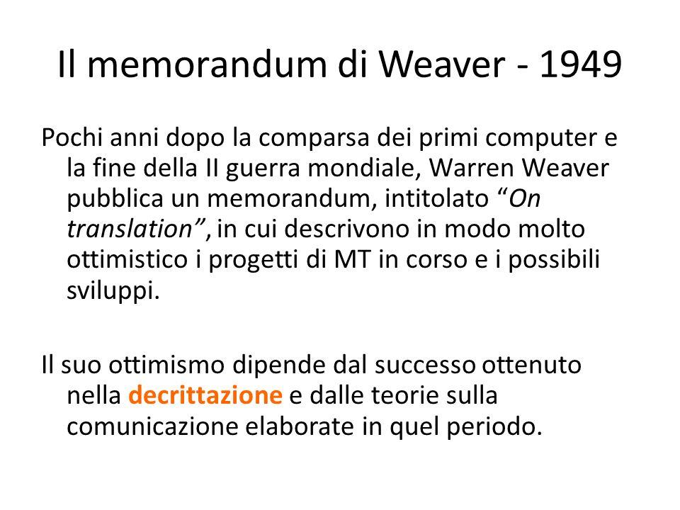 Il memorandum di Weaver - 1949