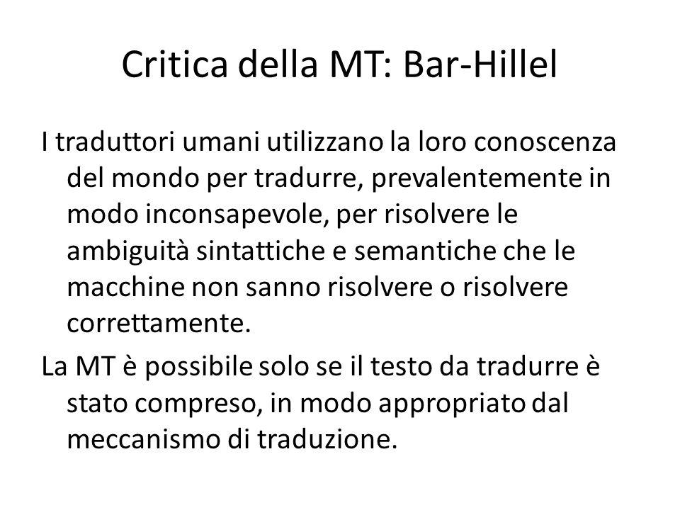 Critica della MT: Bar-Hillel