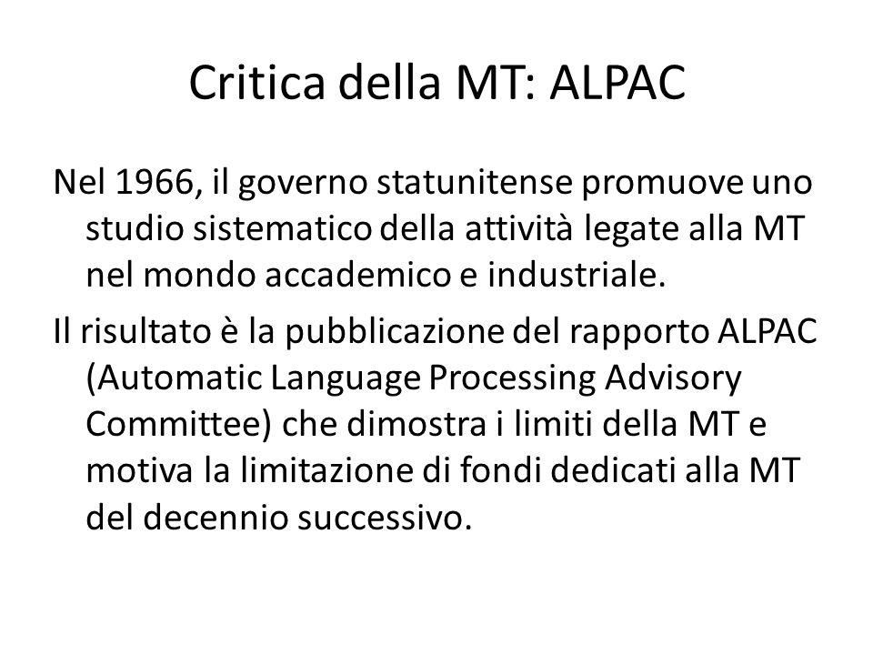 Critica della MT: ALPAC