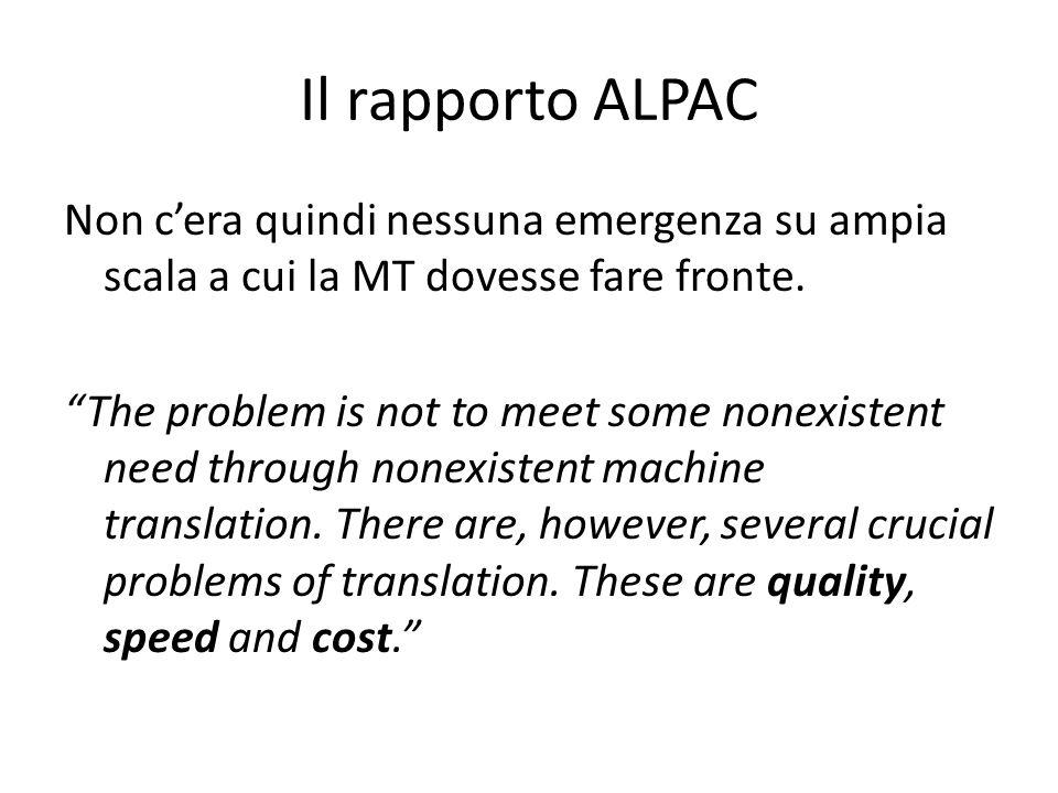 Il rapporto ALPAC