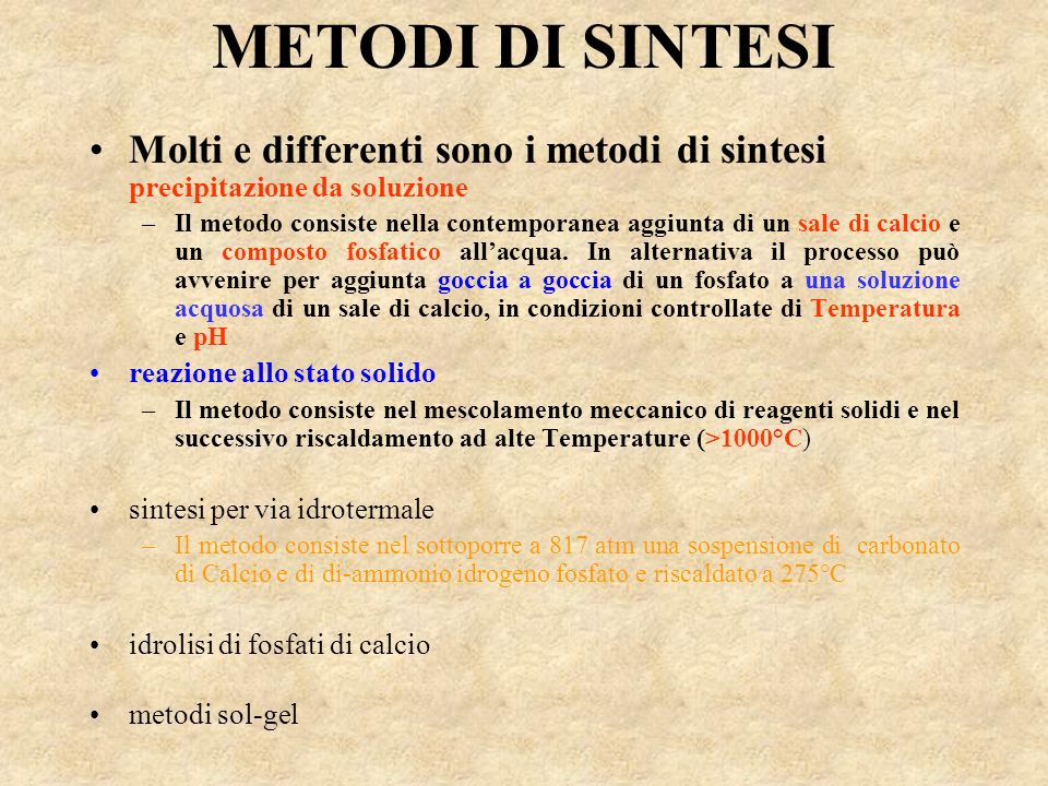 METODI DI SINTESIMolti e differenti sono i metodi di sintesi precipitazione da soluzione.
