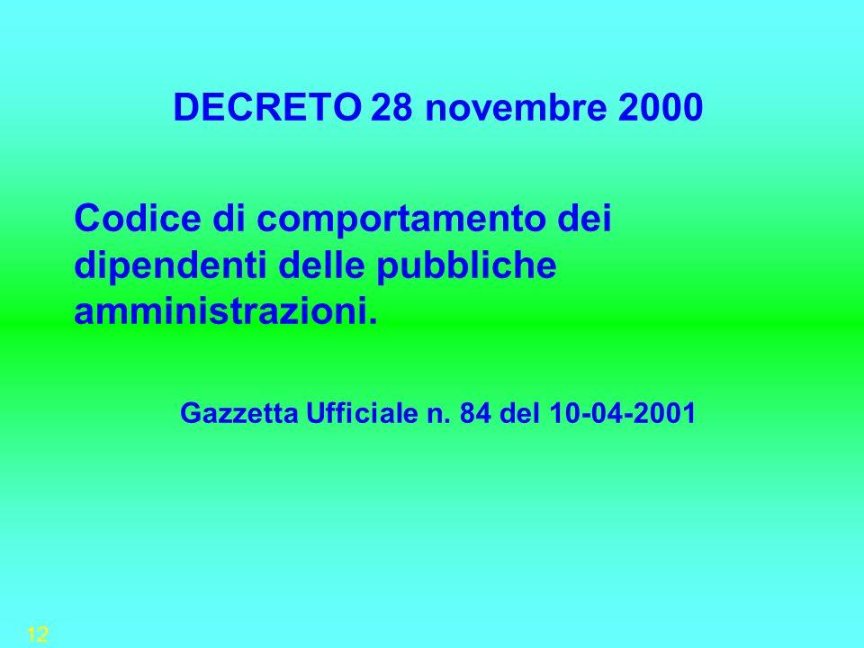Gazzetta UfficiaIe n. 84 deI 10-04-2001