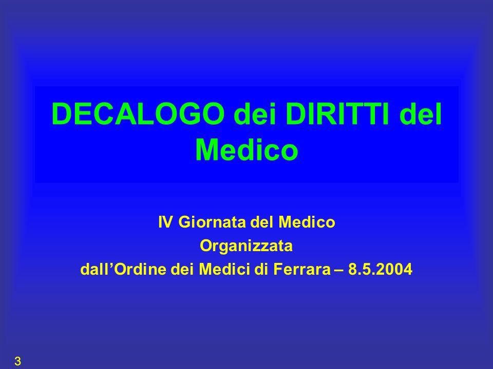 DECALOGO dei DIRITTI del Medico