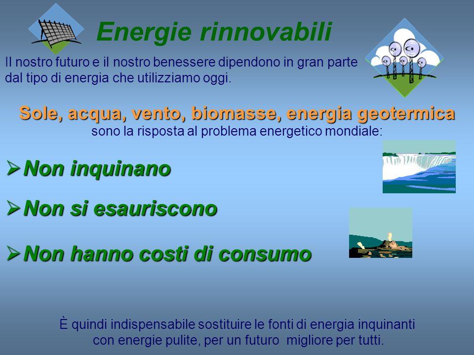 Energie rinnovabili Non inquinano Non si esauriscono