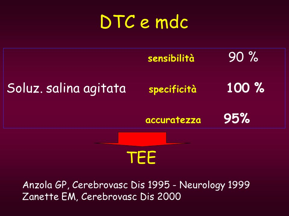 DTC e mdc TEE Soluz. salina agitata specificità 100 % accuratezza 95%