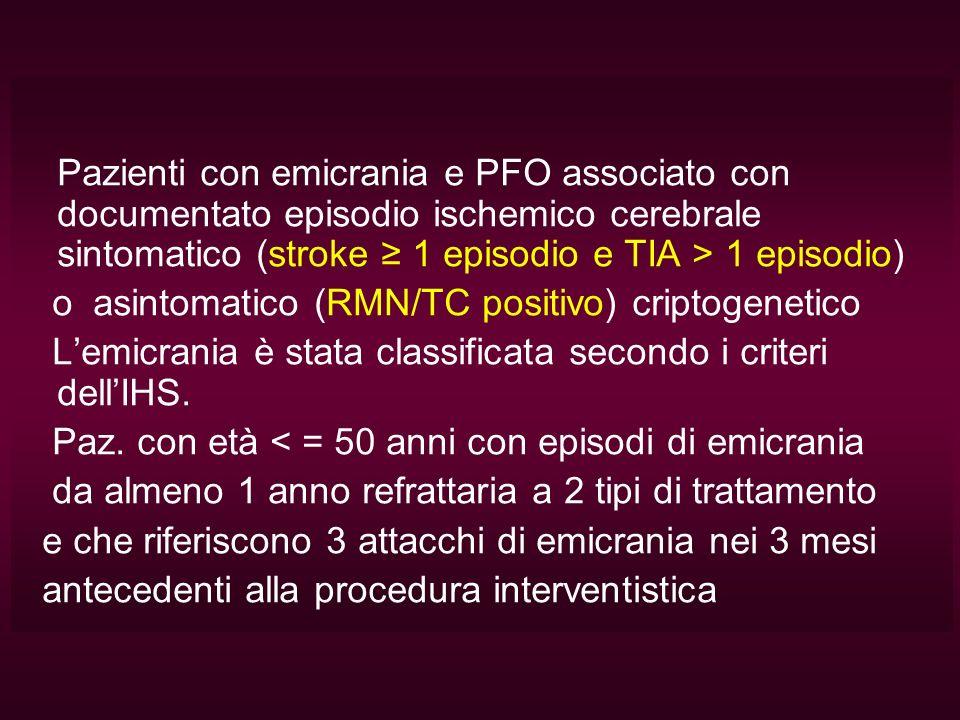 Pazienti con emicrania e PFO associato con documentato episodio ischemico cerebrale sintomatico (stroke ≥ 1 episodio e TIA > 1 episodio)