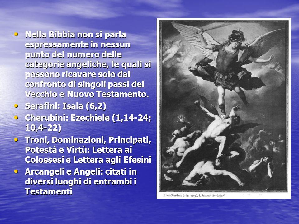 Nella Bibbia non si parla espressamente in nessun punto del numero delle categorie angeliche, le quali si possono ricavare solo dal confronto di singoli passi del Vecchio e Nuovo Testamento.