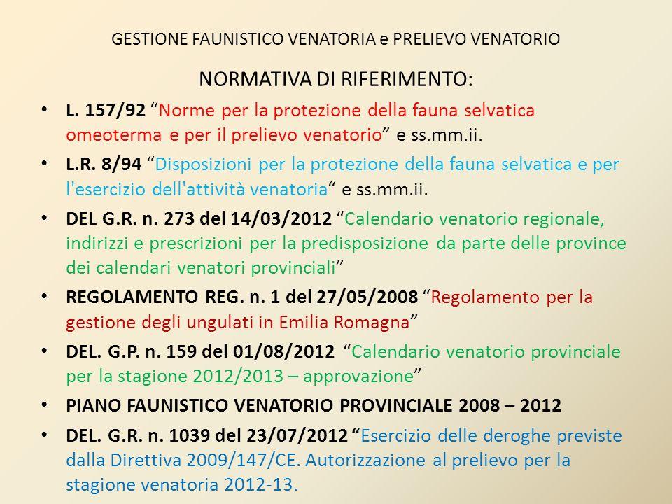GESTIONE FAUNISTICO VENATORIA e PRELIEVO VENATORIO