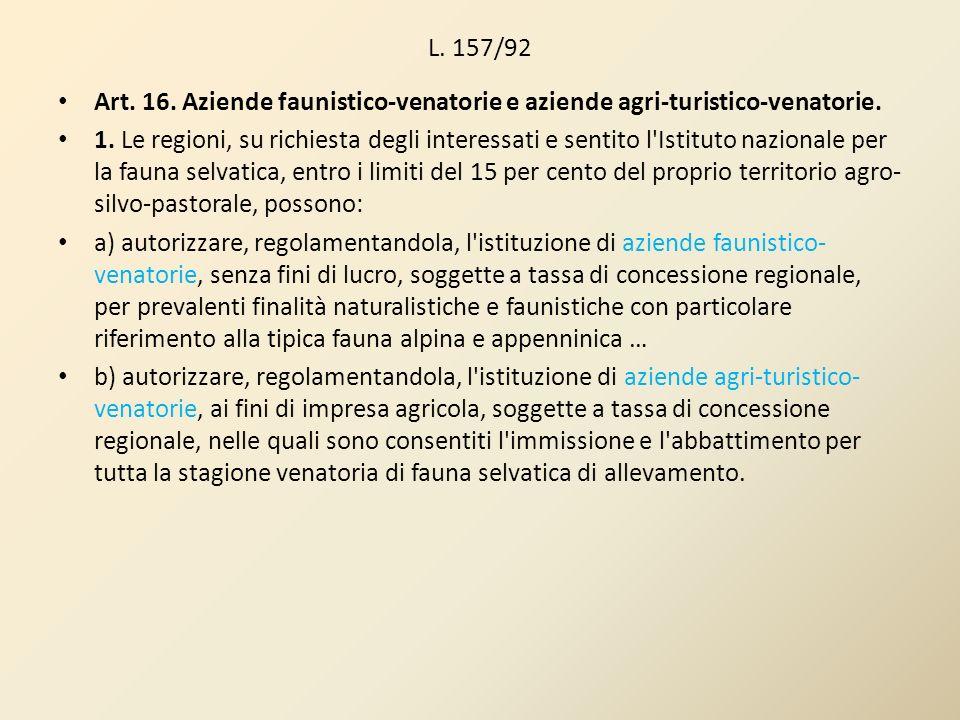 L. 157/92 Art. 16. Aziende faunistico-venatorie e aziende agri-turistico-venatorie.