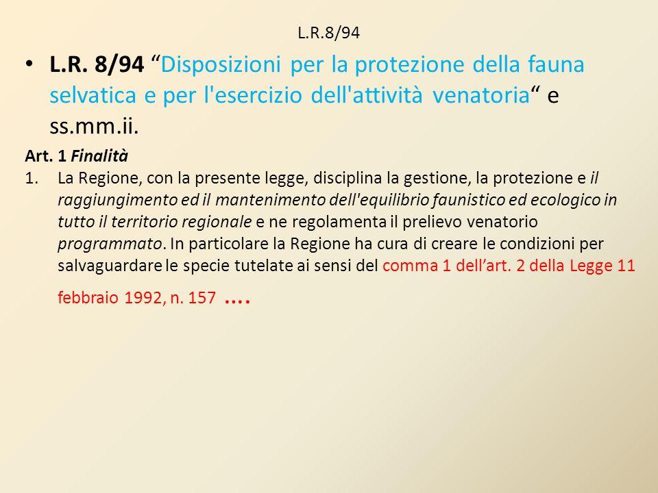 L.R.8/94 L.R. 8/94 Disposizioni per la protezione della fauna selvatica e per l esercizio dell attività venatoria e ss.mm.ii.